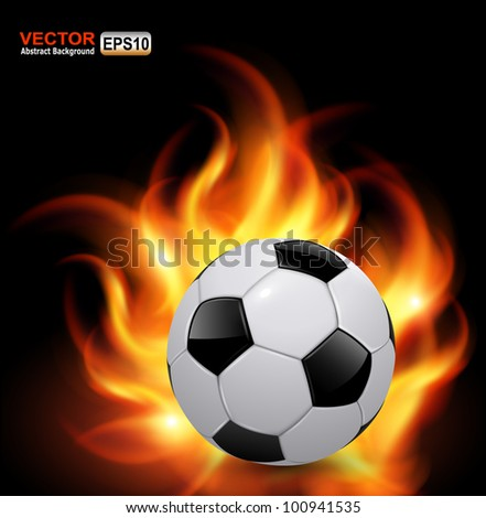 Soccer ball on fire, vector background