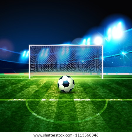 Soccer ball on goalie goal background. Football Arena. Night background football field stadium and fans 2018 soccer championship.