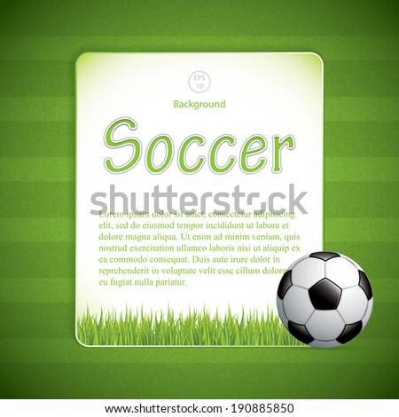 Soccer ball on grass background.Vector