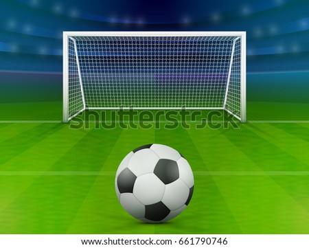 Soccer ball on green field in front of goal post. Association football ball against soccer stadium. Best vector illustration for soccer, sport game, football, championship, gameplay, etc