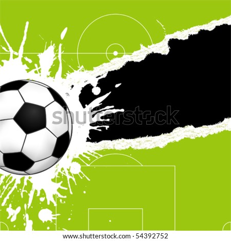 Soccer ball on green torn paper with hole, element for design, vector illustration