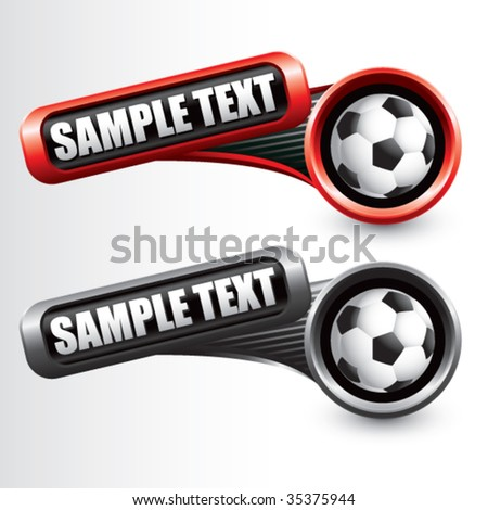 soccer ball on modern style tilted banners