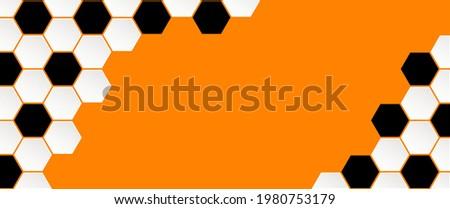Soccer ball on orange background. Football net pattern. Flat vector wk, ek banner. Sports game. Honeycomb cells hexagon pattern. the Netherlands, Holland or Dutch orange supporters.   2020, 2021, 2022 Stok fotoğraf ©