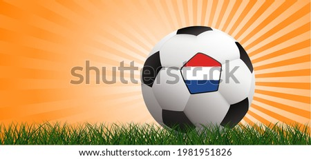 Soccer ball on orange background with the flag of the Netherlands. Football net pattern. Flat vector wk, ek banner. Sports game. Holland or Dutch orange stadium, supporters. 2020, 2021, 2022 Stok fotoğraf ©