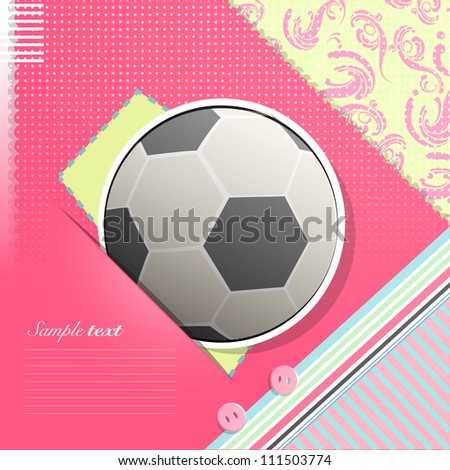 Soccer ball on pink background. Vector design.