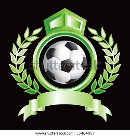 soccer ball on royal floral crest
