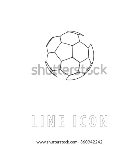 Soccer ball Outline simple vector icon on white background. Line pictogram with text