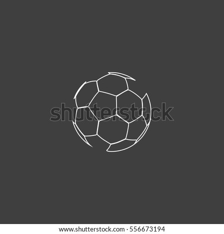 Soccer ball Outline vector icon. Contour line white pictogram on black background. Illustration symbol