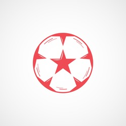 Soccer Ball Red Flat Icon On White Background