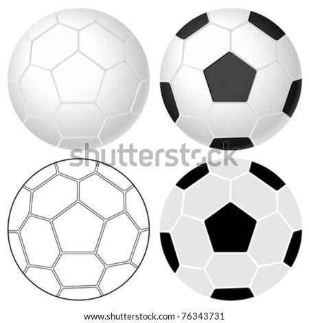 Soccer ball set on a white background. Vector illustration.