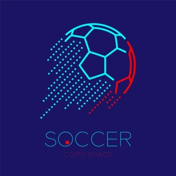 Soccer ball shooting logo icon outline stroke set dash line design illustration isolated on dark blue background with soccer text and copy space