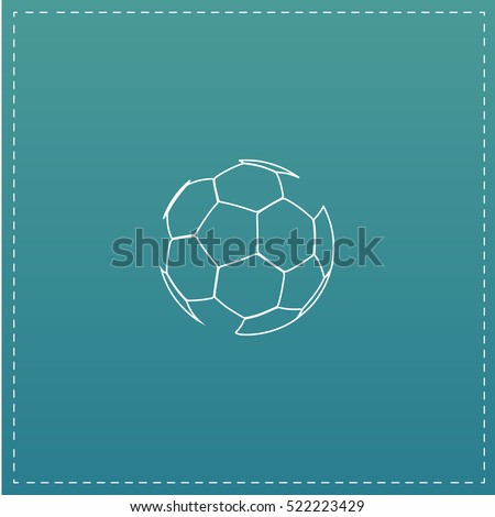 Soccer ball Simple line vector button. Thin line illustration icon. White outline symbol on blue background.