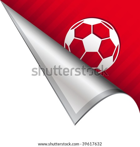 Soccer ball sports icon on vector peeled corner tab suitable for use in print, on websites, or in advertising materials.