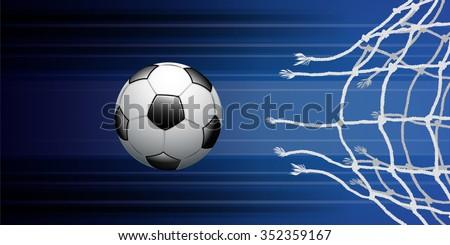 Soccer ball through net on blue background vector illustration for sport background. - Shutterstock ID 352359167