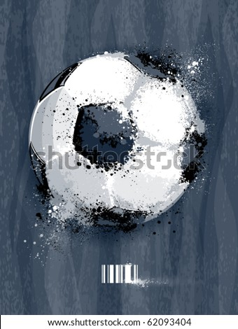 Soccer ball with dirty liquid effect on dirty background. Abstract grunge style. EPS 10 vector illustration.