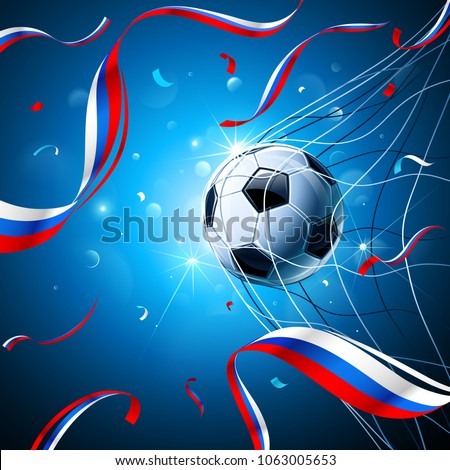 Soccer Ball with Flag of Russia and Confetti on a Blue Background. Vector illustration #1063005653