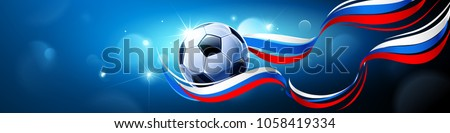Soccer Ball with Flag of Russia on a Blue Background. Vector illustration - Shutterstock ID 1058419334