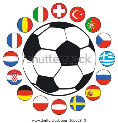 Soccer ball with flags of European countries