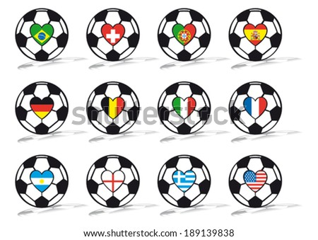 soccer ball with heart and country flags