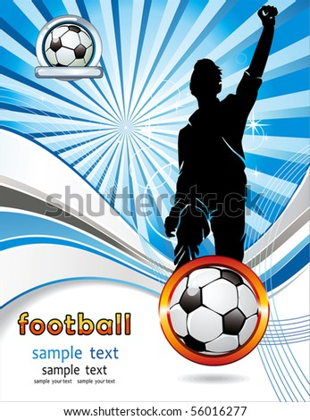 Soccer ball with silhouettes of sport fan. Vector Football background with space for your text. Abstract Classical football poster.