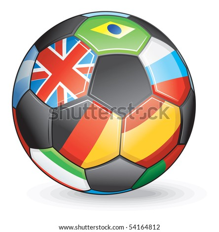 Soccer ball with world flags-vector