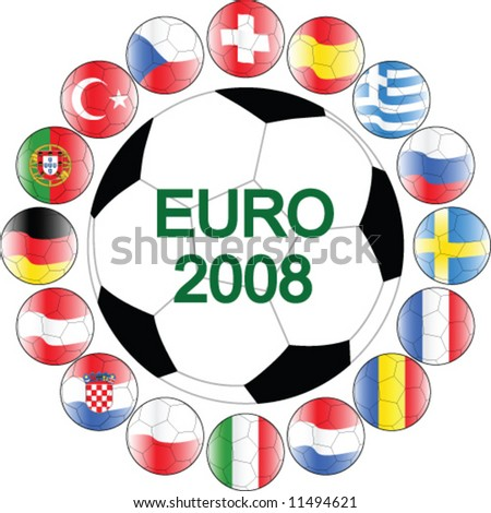 euro sign icon. balls icon of euro 2008
