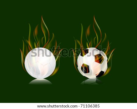 soccer balls in fire flame icon set isolated on green background