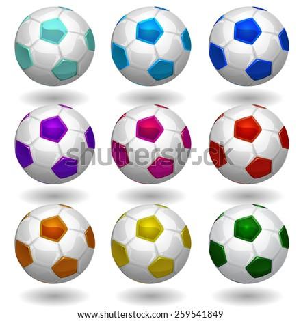 soccer balls multicolor vector