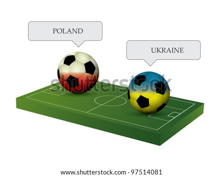 Soccer balls with soccer field