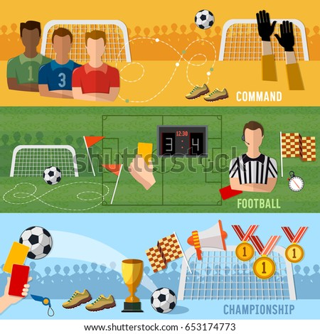 Soccer banner, football sport team signs and symbols elements of professional soccer, world championship