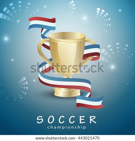 Soccer Blue Background. Vector Illustration, Graphic Design. Sport Concept