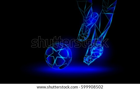 soccer blue neon background