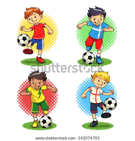 Soccer Boys Soccer player boys with different uniforms Vector EPS10 file
