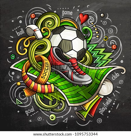 soccer cartoon vector doodle