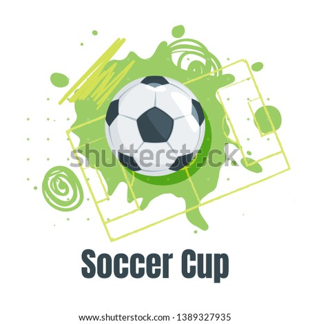 Soccer championship design element or card. Football banner template with leather ball and abstract elements. Vector illustration or label.