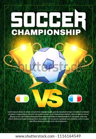Soccer Championship. Football Cup Layout Design Template with Ball. Vector illustration