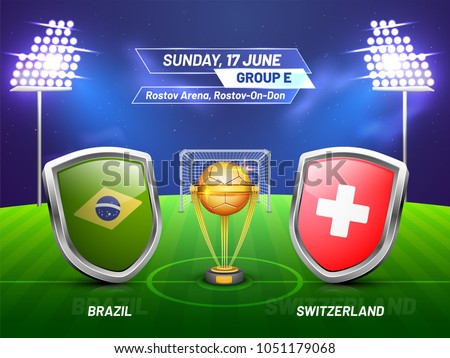 Soccer championship league, match between Brazil v/s Switzerland with golden trophy, and countries flag. Foto stock ©
