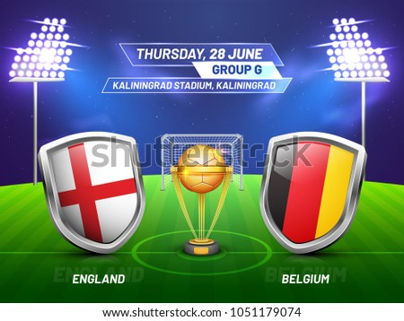 Soccer championship league, match between England v/s Belgium with golden trophy, and countries flag. Foto stock ©