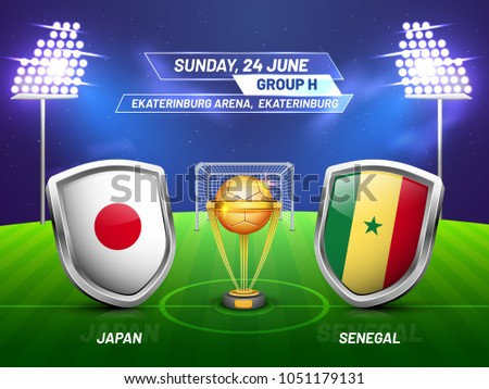Soccer championship league, match between Japan v/s Senegal with golden trophy, and countries flag.
