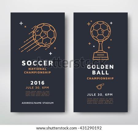 Soccer Championship Posters Design Line Style Vector Illustration