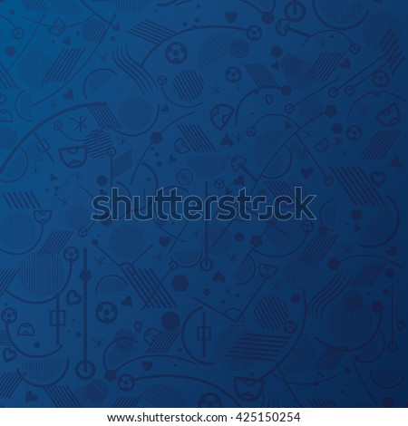 Soccer. Championship soccer abstract Blue background with different abstract shapes. Soccer geometric pattern. 2016 Vector Illustration.