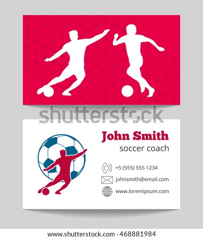 Soccer club business card both sides template in red and white. Vector illustration