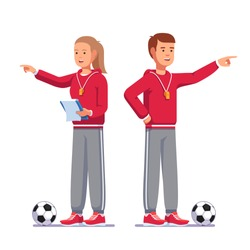 Soccer coach man and woman pointing finger talking instructing football team standing next to soccer balls, holding paperclip notes. Football game coach in uniform. Flat vector illustration