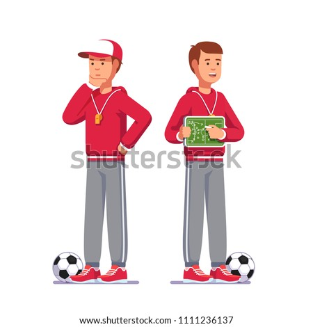 Soccer coach man drawing game plan holding small chalk board playbook teaching game tactics instructing football team. Soccer game playbook strategy analysis scheme. Flat vector isolated illustration
