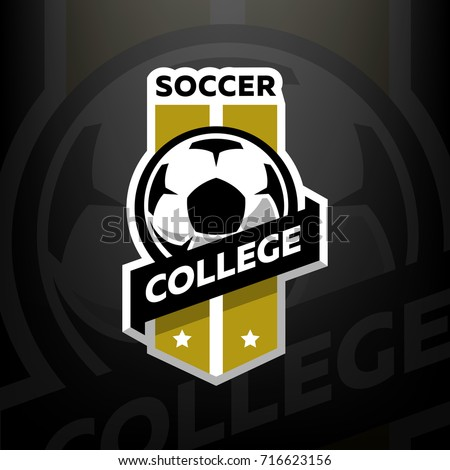 soccer college logo  on a dark