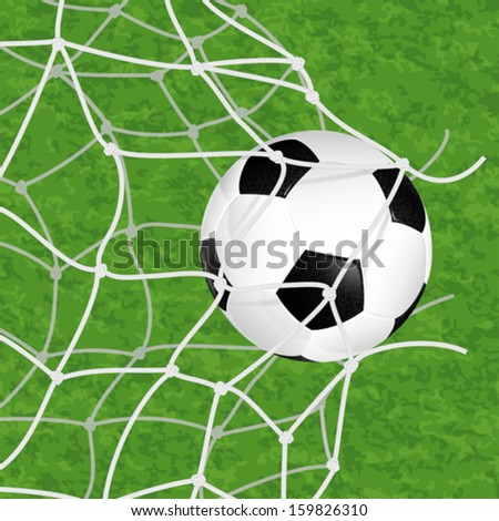 Soccer Concept Goal Soccer Ball in Net Torn on textured grass background vector illustration