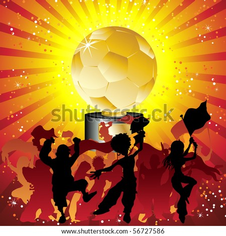 Soccer crowd silhouette with golden trophy. Editable Vector Illustration