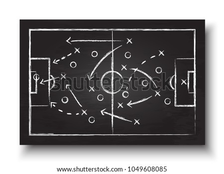 Soccer cup formation and tactic . Blackboard with football game strategy. Vector for international world championship tournament 2018 concept .