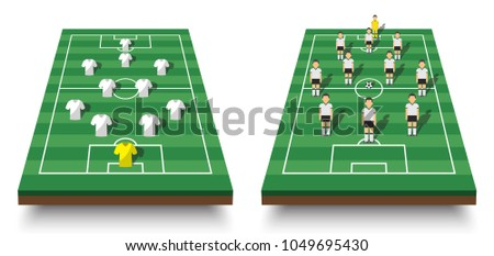 Soccer cup formation and tactic . Set of perspective view football field and players with jersey on white isolated background . Vector for international world championship tournament 2018 concept .