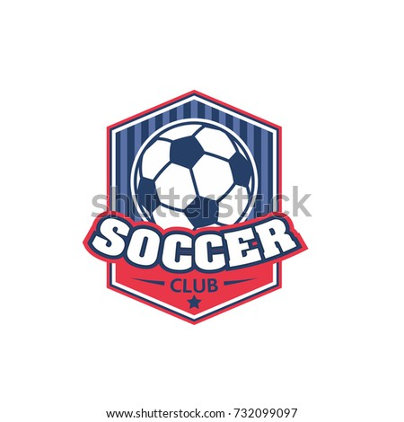 Soccer cup isolated icon for emblem template of football sport tournament or championship. Vector design of football ball, goal gates with stars and wings on victory shield
